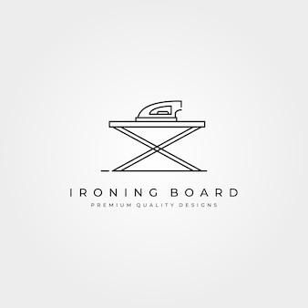 Icono de logotipo de línea de tabla de planchar, diseño de ilustración minimalista, diseño de logotipo de planchado de ropa