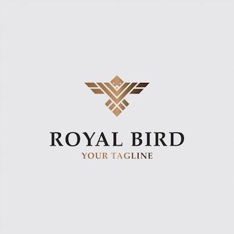 Ícono logotipo de lujo pájaro volador con color dorado