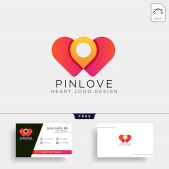 Icono de logotipo de marca de ubicación de punto de amor aislado