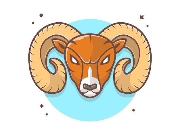 Icono de logotipo de mascota ram enojado