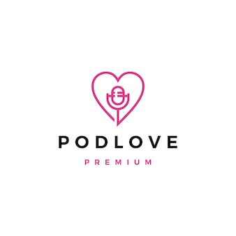 Ícono de logotipo de podcast de mic love
