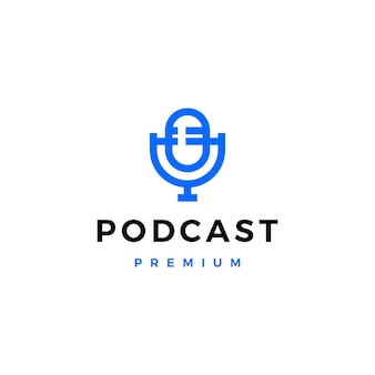 Ícono de logotipo de podcast de micrófono