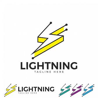 Icono de logotipo de rayo trueno y perno