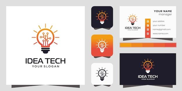 Icono de logotipo de tecnología de bombilla inteligente y tarjeta de visita