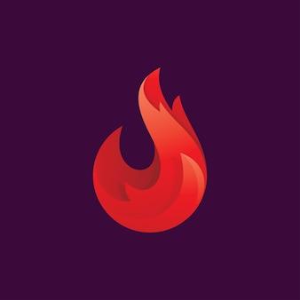 Icono de logotipo de vector de llama de fuego degradado moderno