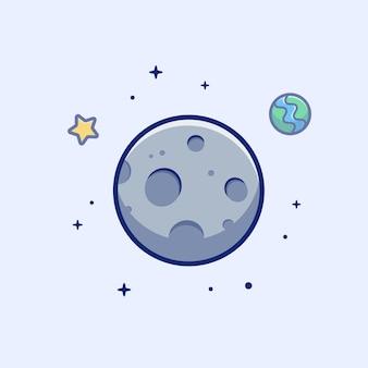 Icono de luna luna, estrella y planeta, espacio icono blanco aislado