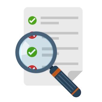 Icono de lupa y lista de verificación. ilustración.