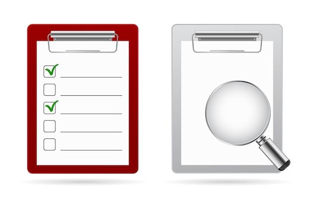 Icono de lupa de lista de verificación del portapapeles
