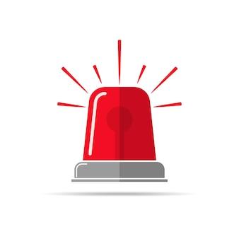 Icono de luz intermitente roja en diseño plano aislado en blanco