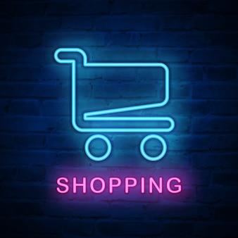 Icono de luz de neón iluminada carrito de compras