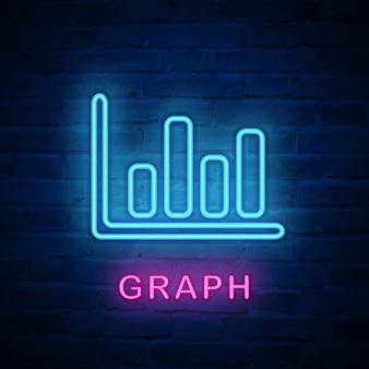 Icono de luz de neón iluminado gráfico infográfico financiero