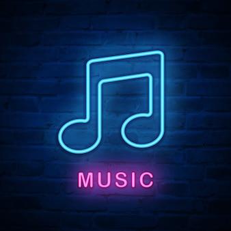 Icono de luz de neón iluminado nota musical