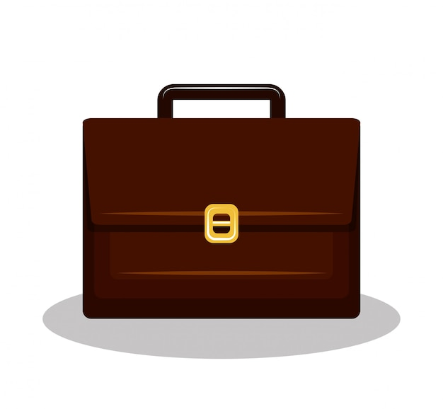 Icono maleta brifcase marrón aislado