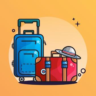Icono de maleta y gorra