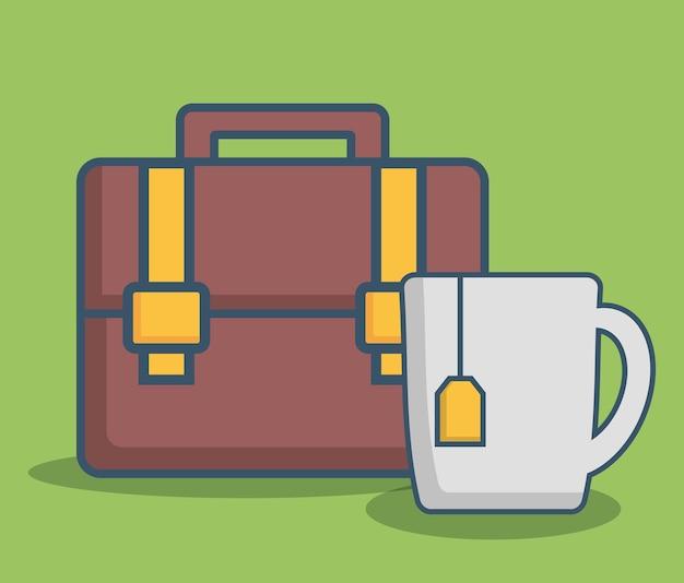 Icono de maletín y taza de café