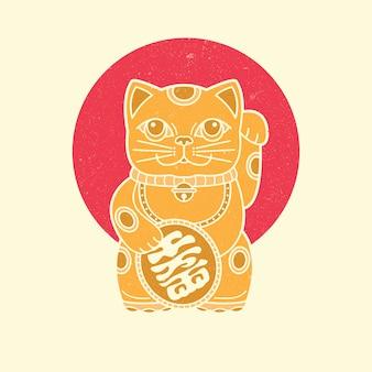 Icono de maneki neko, amuleto de japón.
