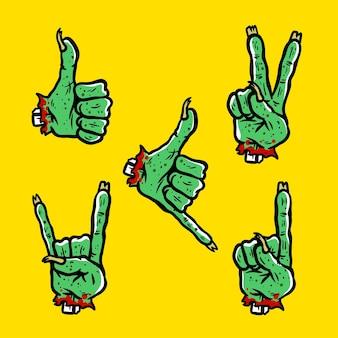 Icono de mano zombie aislado en amarillo