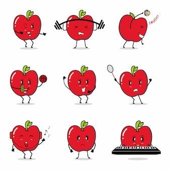 Icono de manzana roja estadounidense caricatura de dibujos animados haciendo actividad diaria gimnasio jugar piano voleibol baloncesto cantando bádminton feliz alegre selfie bailando