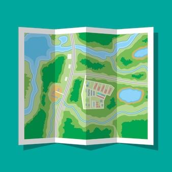 Icono de mapa de la ciudad de papel doblado