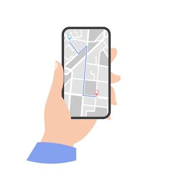 Icono de mapa gps del teléfono. teléfono en mano