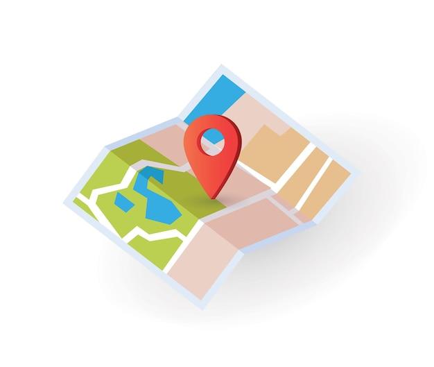 Icono de mapa isométrico con ilustración de puntero de pin de ubicación de destino plana