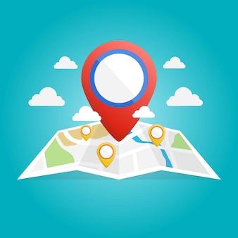 Icono de mapa isométrico con ilustración de puntero de pin de ubicación de destino
