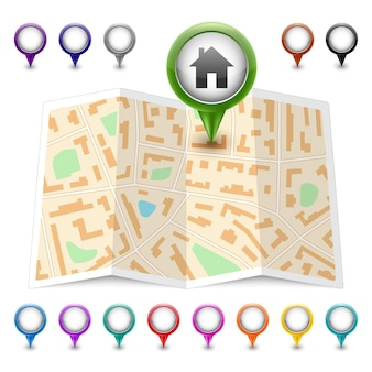 Icono de mapa con punteros multicolores aislados en blanco. ilustración