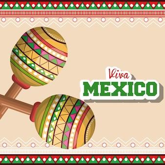 Icono maracas gráfico de música mexicana