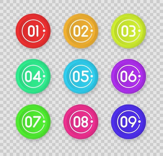 Icono de marcador de bala con el número 1 al 12 para infografía, presentación.