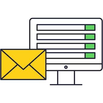 Icono de marketing por correo electrónico con aviso de computadora de vector