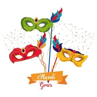 Icono de máscaras de mardi gras