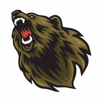 Icono de la mascota del rugido del logotipo del oso enojado