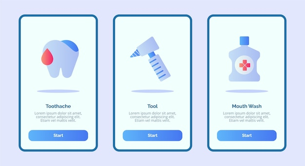 Icono médico herramienta de dolor de muelas enjuague bucal para aplicaciones móviles plantilla de página de banner ui