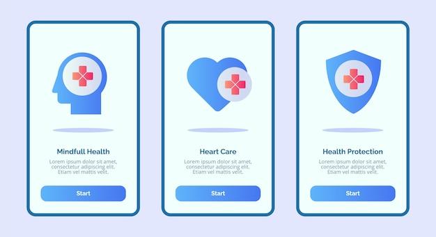 Icono médico mente salud completa cuidado del corazón protección de la salud para aplicaciones móviles plantilla banner página ui
