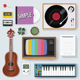 Icono de medios mezclados de entretenimiento de música clásica retro