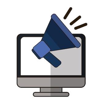 Icono de megáfono y computadora