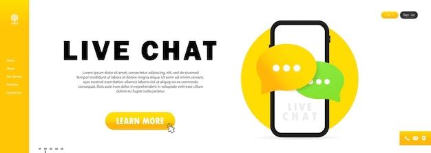 Icono de mensaje y banner de chat en vivo en smartphone
