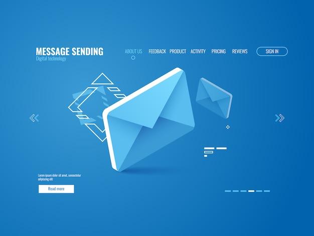 Icono de mensaje, concepto de envío de correo electrónico, publicidad en línea, plantilla de página web