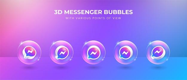 Icono de messenger de redes sociales 3d con varios puntos de vista