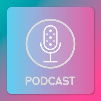 Icono de micrófono de estudio de mesa. señal de transmisión. diseño de emblema de podcast. ilustración de micrófono de radio