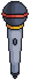 Icono de micrófono pixel art para juego de bits sobre fondo blanco