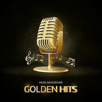 Icono de micrófono vintage viejo dorado