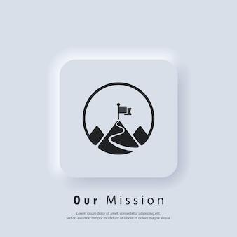 Icono de misión. meta. logotipo de la misión. montaña con bandera. vector. icono de interfaz de usuario. botón web de interfaz de usuario blanco neumorphic ui ux.