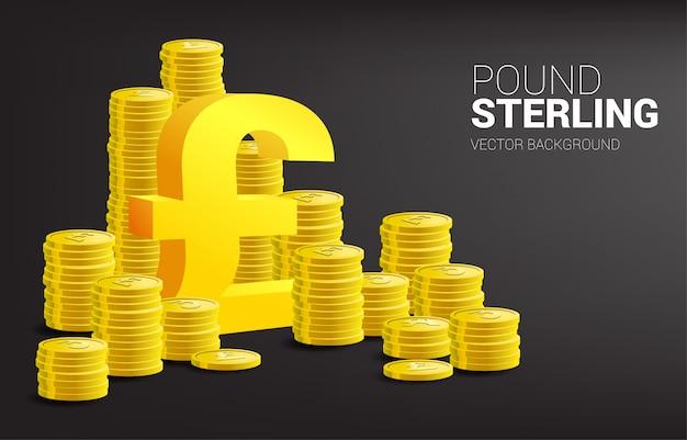 Icono de moneda de libra esterlina 3d con pila de monedas. para gran bretaña, inversión empresarial y contabilidad