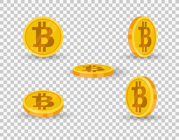 Icono de moneda de oro bitcoin en diferentes ángulos aislados sobre fondo transparente.