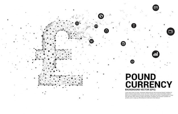 Icono de moneda vector libra esterlina dinero de línea de conexión de punto de polígono