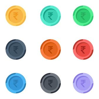 Icono de monedas rupia india colorido