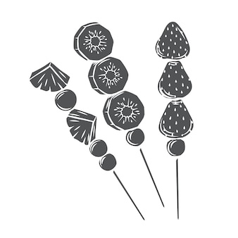 Icono monocromo de glifo de tanghulu
