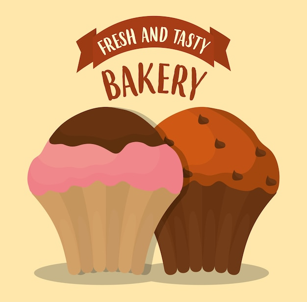 Icono de muffins sobre fondo amarillo