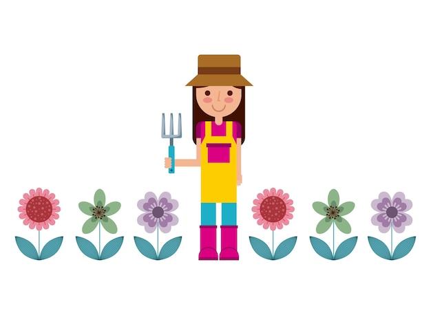 Icono de mujer jardinero